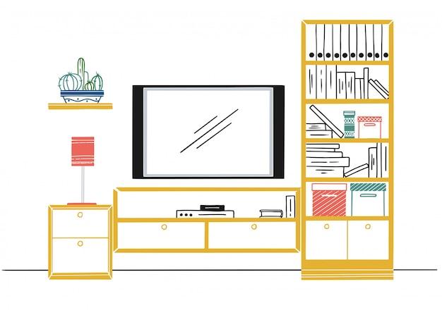 Esboço desenhado de mão. esboço linear do interior. estante, cômoda com tv e prateleiras.