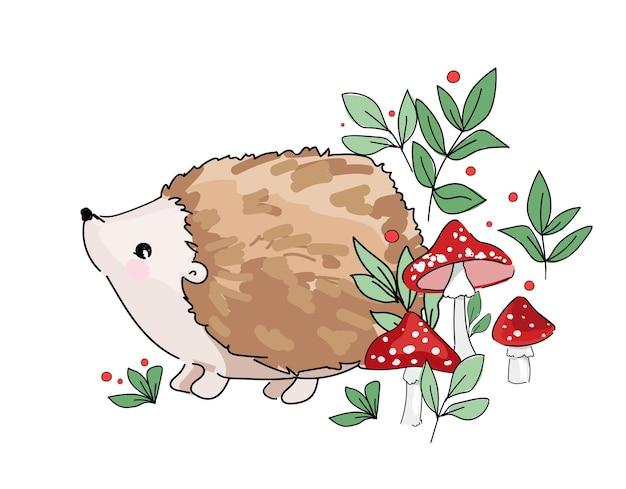 Esboço desenhado de mão ouriço de bebê fofo e cogumelos.