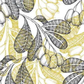 Esboço desenhado de mão padrão sem emenda de caju. ilustração de alimentos orgânicos em fundo branco. porca de vindima. estilo botânico de fundo gravado.