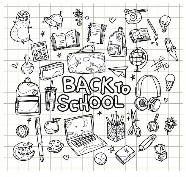 Esboço desenhado de mão volta às aulas