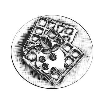 Esboço desenhado mão de waffles belgas