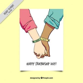 Esboço do cartão de amizade mãos unidas