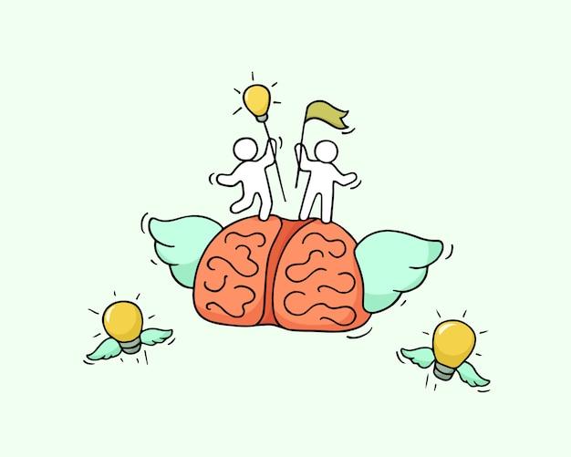 Esboço do cérebro voador com pequenos trabalhadores.