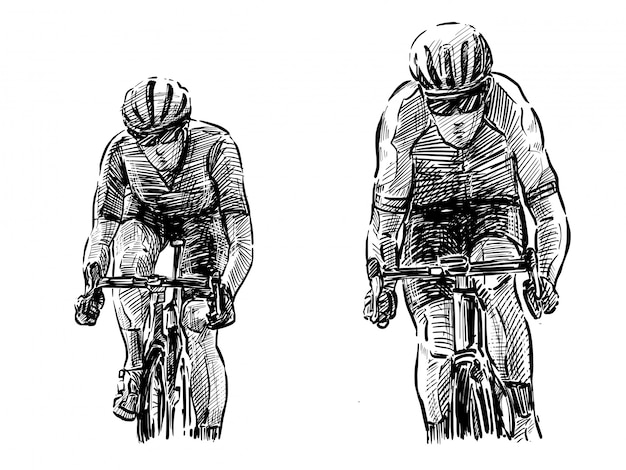 Esboço do desenho de mão de competição de bicicleta