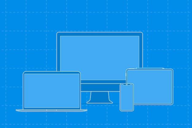 Esboço do dispositivo digital, ilustração vetorial do dispositivo digital azul