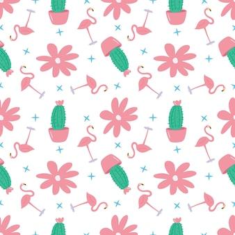 Esboço do esboço de um flamingo exclusivo com outros objetos com ícones e cores de elementos de design