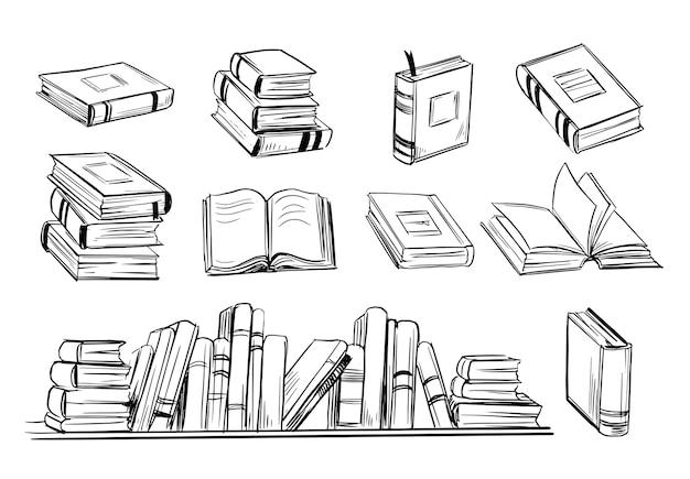 Esboço do livro. conjunto de livros desenhados à mão.