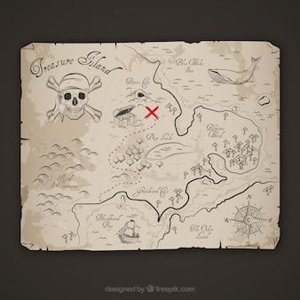 Esboço do mapa da aventura do pirata
