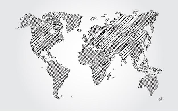 Esboço do mapa do mundo no fundo branco