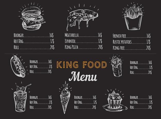 Esboço do menu de fast food em giz branco