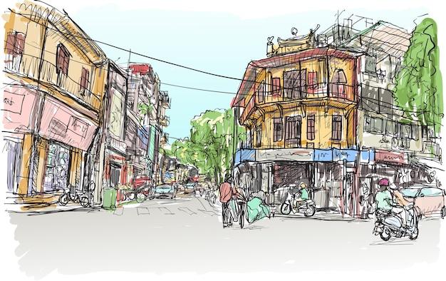 Esboço do mercado de rua da cidade de hanói e um prédio antigo