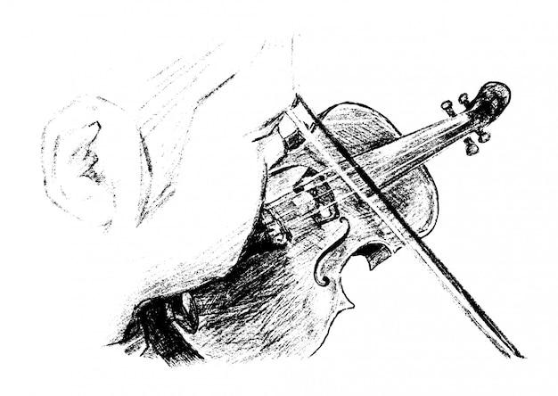 Esboço do músico clássico toca instrumento mão desenho