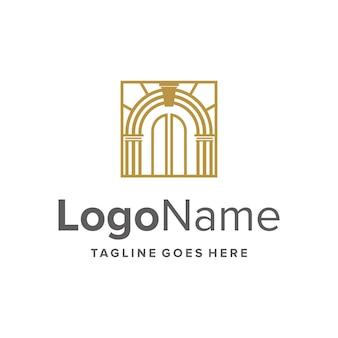 Esboço do portão de luxo moderno e criativo design de logotipo geométrico