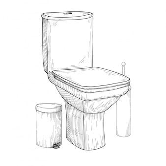 Esboço do vaso sanitário e outros produtos de higiene pessoal isolados no fundo branco.