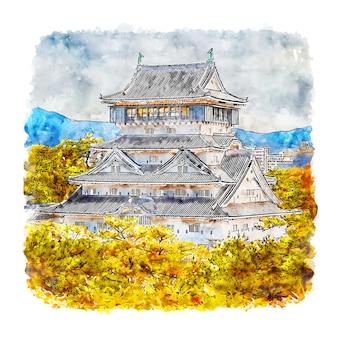 Esboço em aquarela de fukuoka japão desenhado à mão