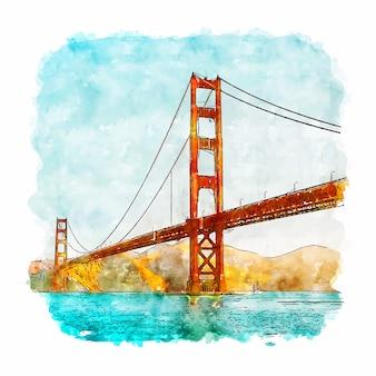 Esboço em aquarela de são francisco califórnia