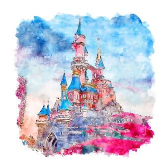 Esboço em aquarela do castelo de paris
