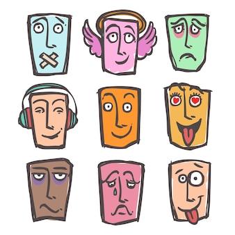 Esboço emoticons colorido conjunto