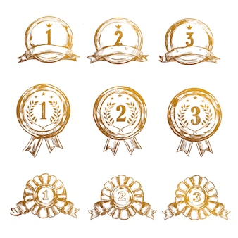 Esboço esporte vencedor medalha conjunto de ícones