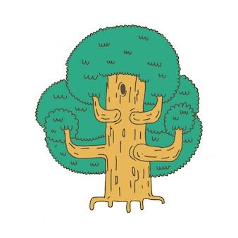 Esboço grande árvore isolado.