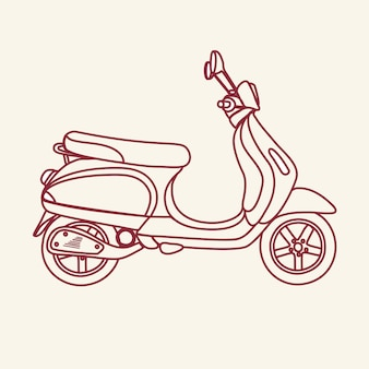 Esboço ilustração de scooter da velha escola
