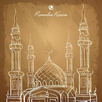 Esboço islâmico da mesquita do esboço do fundo de ramadan kareem