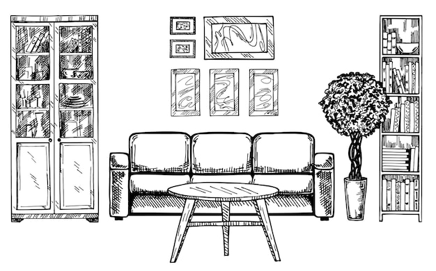 Esboço linear do interior de uma sala de estar