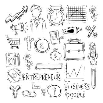 Esboço ou mão estilo desenhado de coleção de ícones de negócios