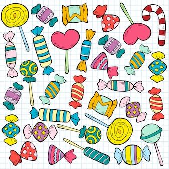 Esboço padrão de doces e pirulitos coloridos
