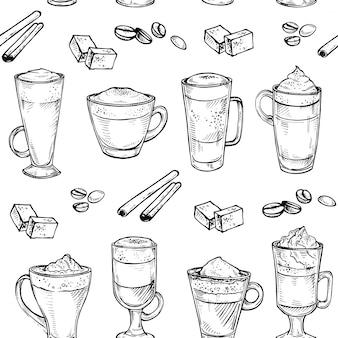 Esboço padrão sem emenda de café tipo copo bebendo