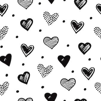 Esboço padrão sem emenda de corações