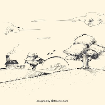 Esboço paisagem ao entardecer