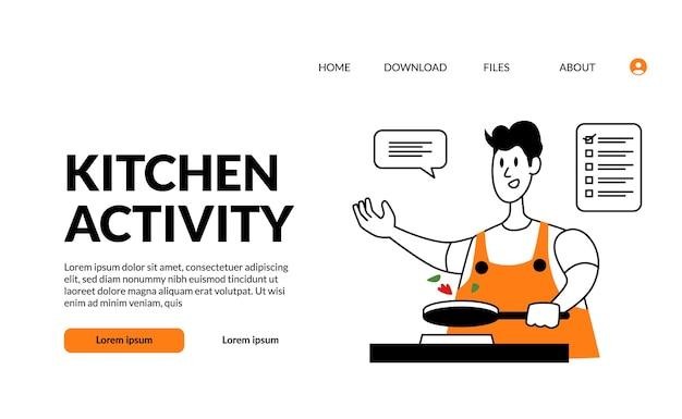Esboço plano ilustração moderna cozinha atividade homem refogue a comida com a panela no fogão com uma cara feliz