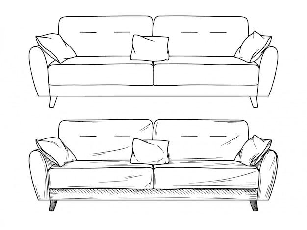 Esboço realista de sofás