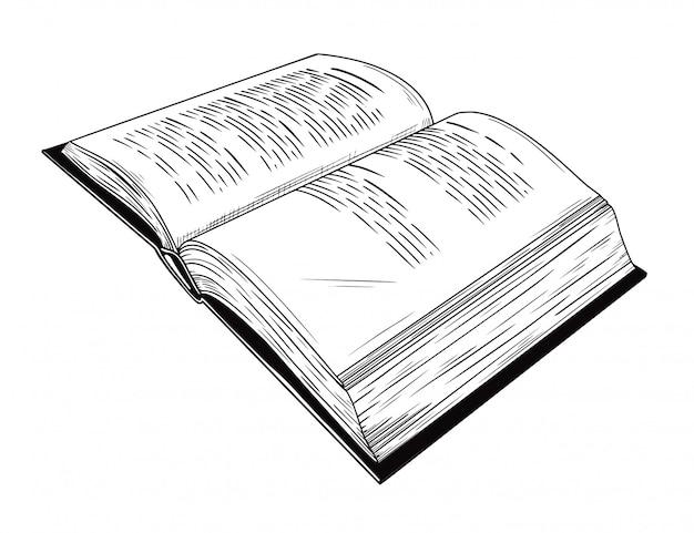 Esboço realista de um livro aberto