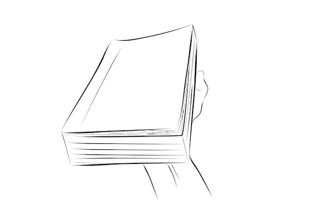 Esboço simples de ilustração vetorial para artigo relacionado à educação, mão segurando um grande livro