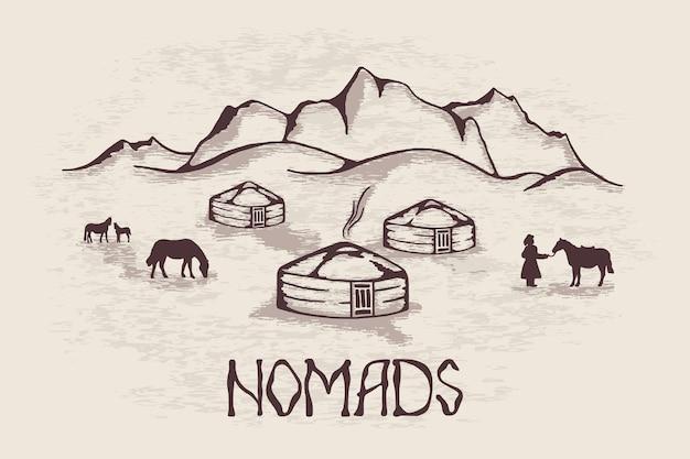 Esboço sobre o tema da vida na ásia central, vida nômade, yurts nas montanhas