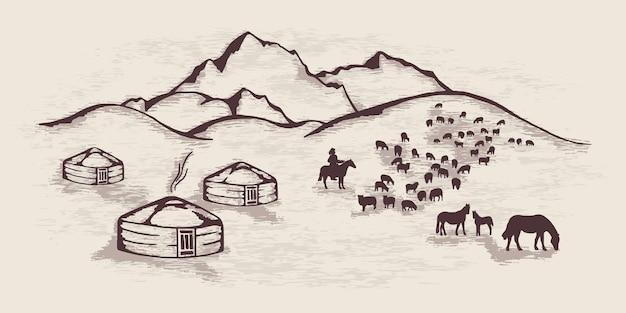 Esboço sobre o tema da vida na ásia central, yurts nas montanhas, gado pastando