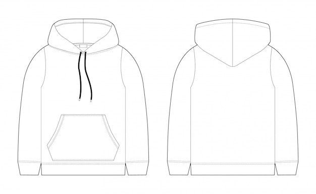 Esboço técnico da forma para o hoodie dos homens vista frontal e traseira. desenho técnico de roupas infantis. sportswear, estilo urbano casual.