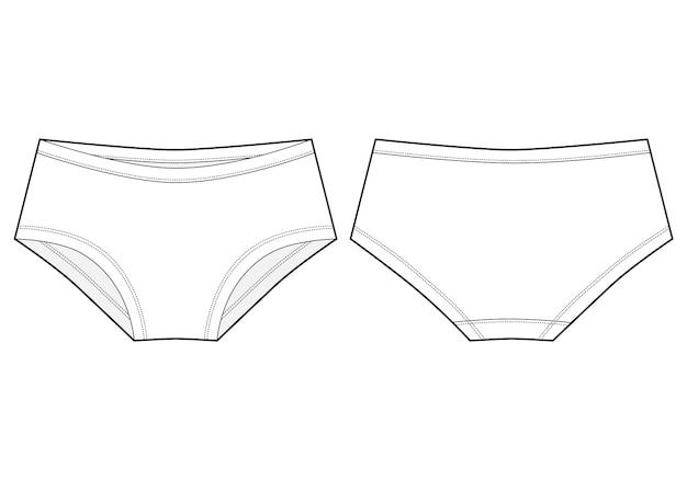Esboço técnico de calcinhas de meninas. lady lingerie. cueca branca feminina.