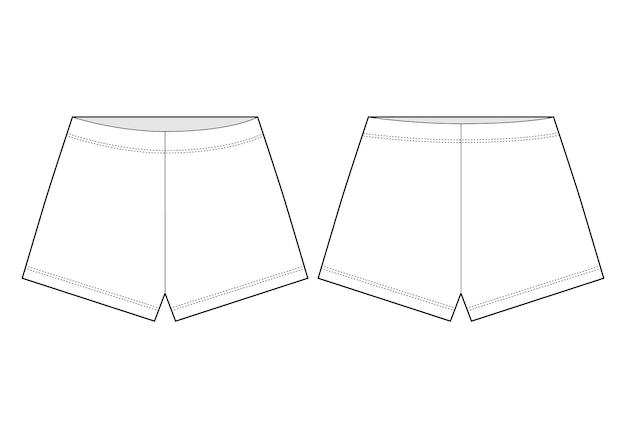 Esboço técnico de calções. calças de bermuda de contorno unissex.