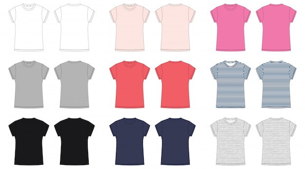 Esboço técnico de camiseta de mulher.