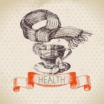 Esboço vintage fundo saudável e médico com uma xícara de chá e lenço. ilustração em vetor desenhada à mão