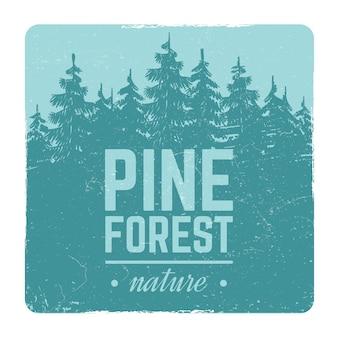 Esboço vintage natureza pinheiro e abeto árvore floresta retrô vector brasão de armas com árvores de silhueta