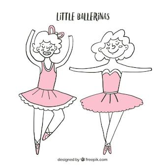 Esboços bailarinas pequenas engraçadas