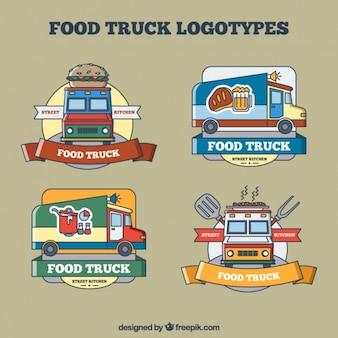 Esboços caminhões de alimentos logotipos