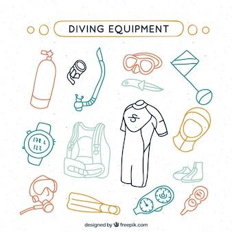 Esboços coloridos equipamento de mergulho