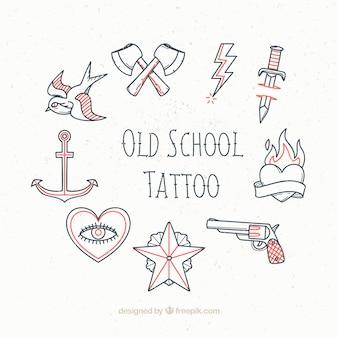 Esboços conjunto de tatuagens do vintage