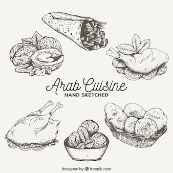 Esboços culinária árabe saborosa
