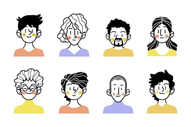 Esboços de avatares de pessoas com roupas coloridas